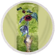 Sunflowers In A Vase Round Beach Towel