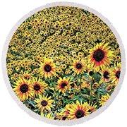 Sunflowers In Kansas Round Beach Towel