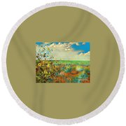 Sunflowers On The Edge Round Beach Towel