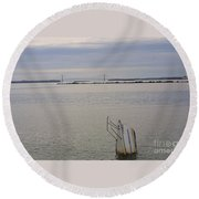 Sunken Sailboat In The Bay Round Beach Towel