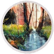 Sunlight Colorful Path Round Beach Towel