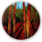 Sunny Forest Landscape Round Beach Towel