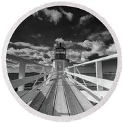 Sunny Skies At Marshall Point In Black And White Round Beach Towel