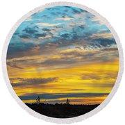 Sunrise At Beaumont Round Beach Towel