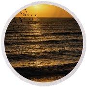 Sunrise Birds Nc Round Beach Towel