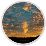 Sunrise In Beaumont,ca Round Beach Towel