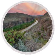 Sunrise In Big Bend Along The Hot Springs Trail 1 Round Beach Towel