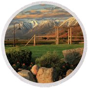 Sunrise In Carson Valley Round Beach Towel