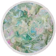 Sunrise In The Garden Round Beach Towel