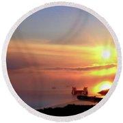 Sunrise - Morning Calm Round Beach Towel