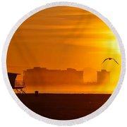 Sunrise On Coronado Round Beach Towel