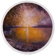Sunrise On The Sea Round Beach Towel