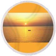Sunrise Over Banyuls Round Beach Towel