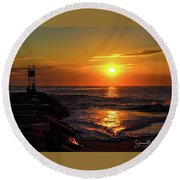 Sunrise Over Indian River Inlet Round Beach Towel