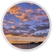 Sunrise Sky Round Beach Towel by Lisa Wooten