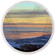 Sunrise View Across Cook Inlet From Above Anchorage Alaska Round Beach Towel