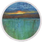 Sunset - Abstract Landscape Painting Round Beach Towel