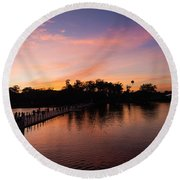 Sunset At Angkor Wat Round Beach Towel