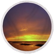 Sunset At Cheyenne Bottoms -02 Round Beach Towel by Rob Graham