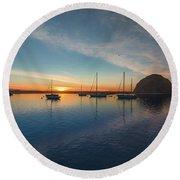 Sunset At Morro Bay Round Beach Towel