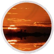 Sunset Behind Clouds Two Round Beach Towel