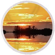 Sunset Behind The Tree Tops Two  Round Beach Towel