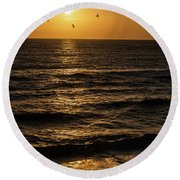 Sunrise Birds North Carolina Round Beach Towel