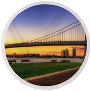 Sunset By The Ben Round Beach Towel