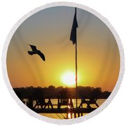 Sunset Dock Flag Silhouette Round Beach Towel by Patti Deters