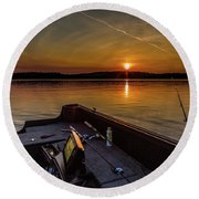 Sunset Fishing Dog Lake Round Beach Towel