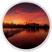 Sunset In Angkor Round Beach Towel