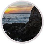 Sunset In Gale Beach. Coast Of Algarve 2 Round Beach Towel