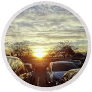 Sunset In Parking Lot 2 Round Beach Towel