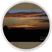 Sunset In Southern Missouri Round Beach Towel