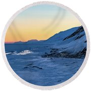 Sunset In The Arctic Round Beach Towel