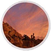 Sunset, Joshua Tree National Park Round Beach Towel