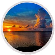 Sunset On Cudjoe Bay 8584 Round Beach Towel