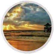 Sunset On The Gulf Round Beach Towel