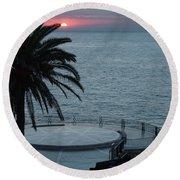 Sunset Over A Balcony Round Beach Towel