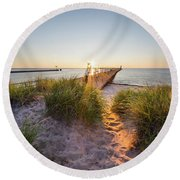 Sunset Over Dunes And Pier Round Beach Towel