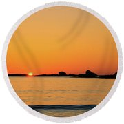 Sunset Over Sunset Bay, Oregon 4 Round Beach Towel by Dawn Richards