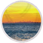 Sunset Over The City Round Beach Towel