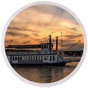 Sunset Over The Lady Round Beach Towel by Rod Best