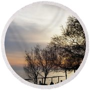 Sunset Scene Of Tree Branches And People Silhouettes Round Beach Towel