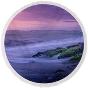 Sunset Surf On The Gulf Of Mexico, Venice, Florida Round Beach Towel