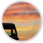 Sunset With The Van Round Beach Towel