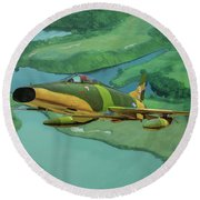 Super Sabres Over Vietnam - Oil Round Beach Towel