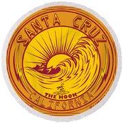 Surfing Santa Cruz California Steamer Lane Round Beach Towel