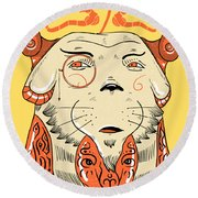 Surreal Cat Round Beach Towel by Sotuland Art