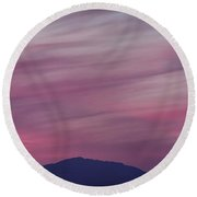 Surreal Red Twilight Sky Panorama Above Mountains On The Pacific Round Beach Towel